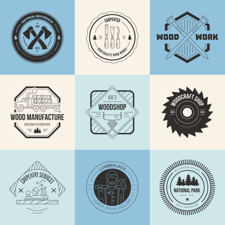 tree services company: Set of vintage carpentry logotypes made in vector. Wood work and manufacture label templates. Detailed emblems with timber industry elements and carpentry tools. Woodworking badges with sample text for your business. Illustration