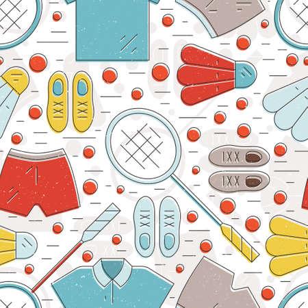 badminton: Modern seamless pattern with badminton equipment. Summer sport illustration. Illustration