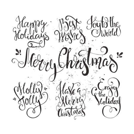 text: Big set of handdrawn new year and christmas lettering. Vector xmas collection. Decoration element for cards and invitations.