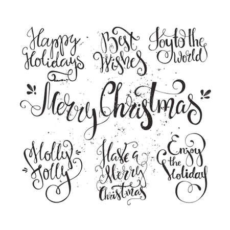 estaciones del año: Gran conjunto de año nuevo handdrawn y las letras de la Navidad. Navidad del vector colección. Elemento de decoración para las tarjetas e invitaciones.