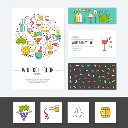 winemaking: Wine business corporate identity template. Brand design with wine symbols. Vector branding - isolated and easy to use. Illustration