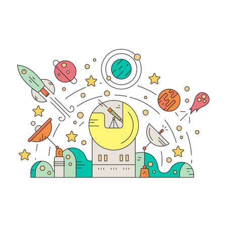 observatory: Colorful space design with rocket, meteor, planets, stars and observatory. Launch concept. Adventure and exploration illustration isolated on white background. Illustration