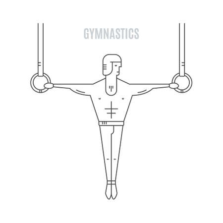 exersice: Modern linear style illustration of gymnast hanging on the rings. Artistic gymnastic template.