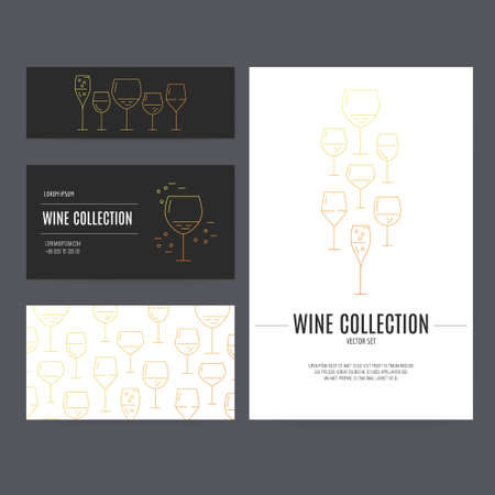 corporate identity template: Vector company style for brandbook with different glasses. Corporate identity template. Wine theme.