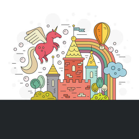 fairytale castle: Vector illustration of magic fairytale castle. Kingdom template isolated on white background with unicorn, rainbow and nature around.