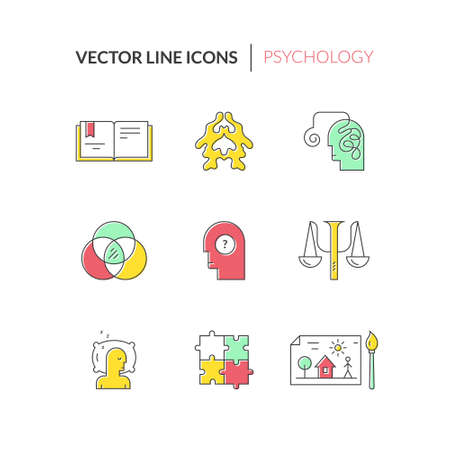 Psychology and mental health symbols made in clean and modern vector. Modern pictogramm collection of brain function and mental health problems for all kinds of design. Çizim