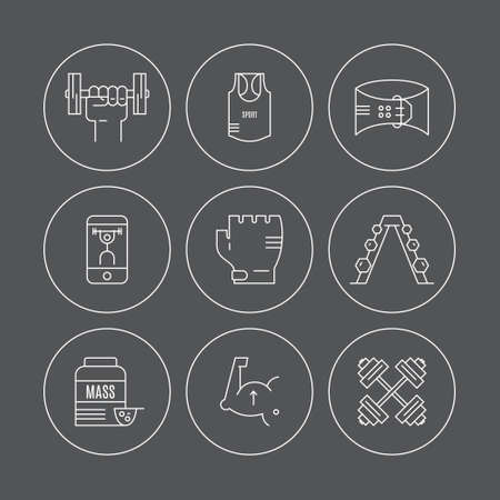 fitness training: Vector set of bodybuilding, weightloss and fitness training gear and equipment icons made in line style. Fitness elements. Unique and modern set isolated on background.