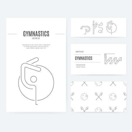 exersice: Modern and unique rhythmic gymnastics business identity set in modern linear vector style.Business card, letterhead and flyer templates isolated on background.