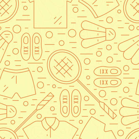 sport club: Seamless pattern with badminton rackets and sportswear including sneakers, shorts and t-shirt.Great background for sport club, active lifestyle banner or other types of athletic flyers. Illustration