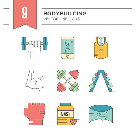 pictogramm: Collection of vector line style icons of weightloss, active lifestyle and gym training. Fitness elements. Unique and modern set isolated on background.