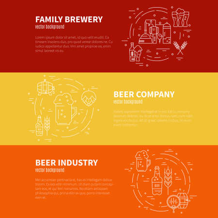 barley hop: Unique vector template with different beer and brewery related items. Perfect illustration for banner or flyer. Octoberfest series.