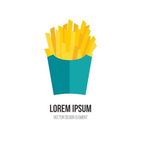 deep fried: French fries vector concept. Design element for restaurant menu illustration or for logotype. Flat design of food. Diet and unhealthy eating habits illustration.