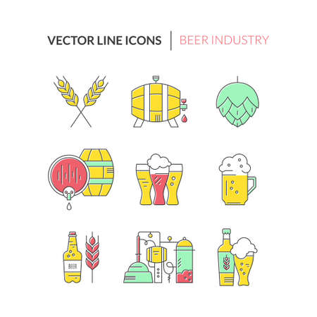 brewing: Unique and modern set of beer related icons isolated on background. Perfect symbols of brewing process and beer industry - beer bottles and mugs, barrels and wheat. Octoberfest series. Line style vector. Illustration