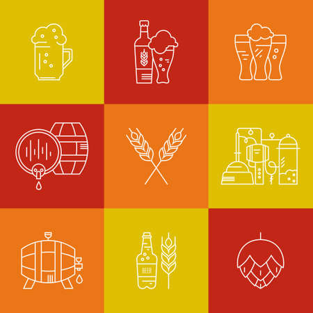 icon series: Unique line style vector icons of brewery process and beer industry - beer barrels, mugs, wheat, hop. Octoberfest icon series. Clean and modern line style vector. Illustration