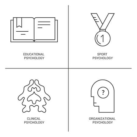 psychoanalysis: Line style vector icons introducing different psychology theories including sport, clinical, educational psychology. Mental health, autism, mental problems symbols.