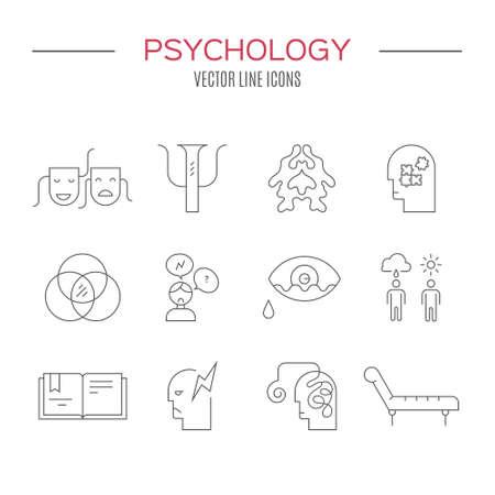 心理学と精神保健シンボルの清潔でモダンなベクトルで行われました。メンタルヘルス アイコンのコレクション。  イラスト・ベクター素材