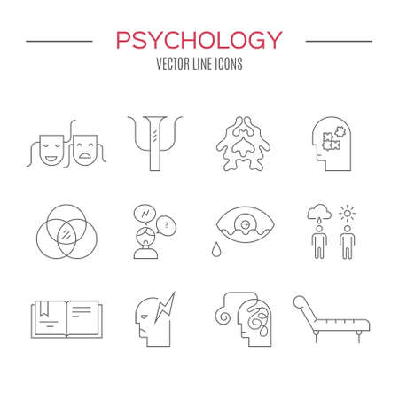 medical evaluation: Psychology and mental health symbols made in clean and modern vector. Mental health icon collection.