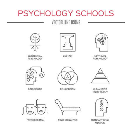 humanistic: Line style vector icons introducing different psychology theories including psychoanalysis, counseling, existential psychology, behaviorism, gestalt. Mental health icon collection. Line icon vector set.