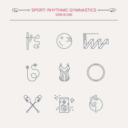 exersice: Collection of line modern vector symbols of rhythmic gymnastics, including ribbon, ball, clubs. Professional sport vector. Unique and modern set isolated on background.