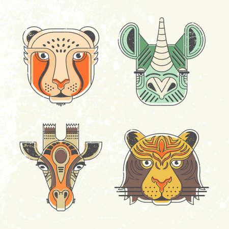 Dierlijke portretten gemaakt in unieke geometrische vlakke stijl. Vector hoofden van de cheeta, giraffe, neushoorn, tijger. Geïsoleerde pictogrammen voor uw ontwerp.