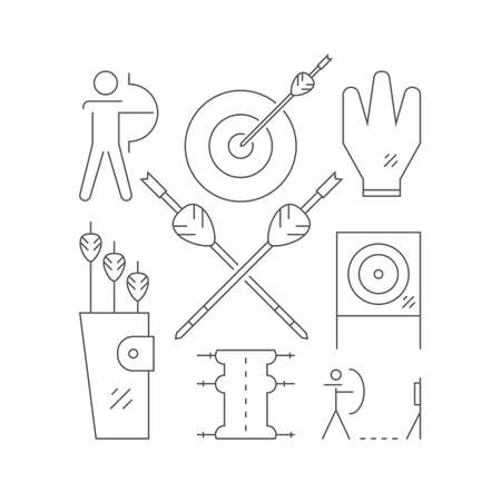 indian professional: Professional archery concept with different symbols including bow, arrows and man aiming to the target. Sport illustration made in modern linear style. Vector archery design. Vectores