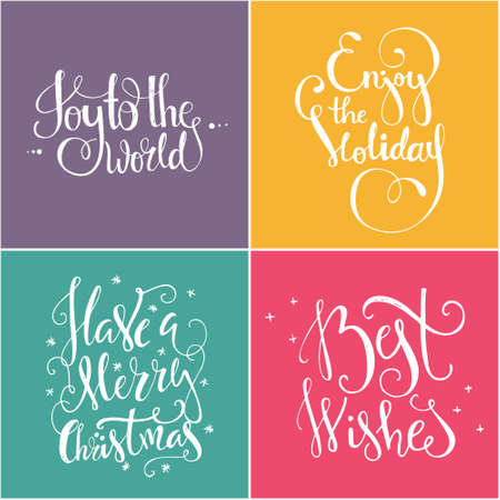 joy: Set of four Christmas and New Year lettering quotes. Great design elements for congratulation cards, banners and flyers. Illustration