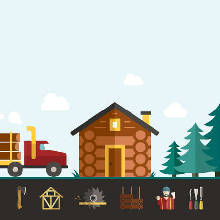 logger: House construction vector template with log house and logger and timber industry tools. Modern design element for flyer template, advertisement or commercial add.