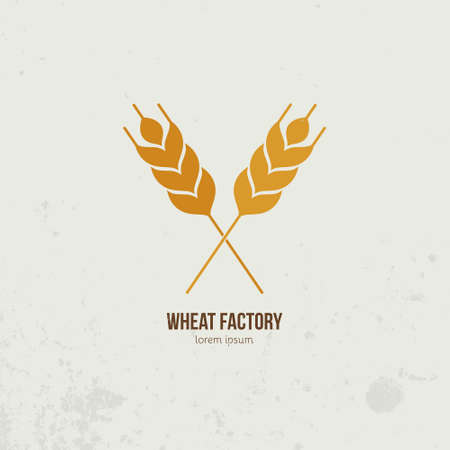 wheat harvest: Modern logo with crossed wheat - agriculture, harvest symbols or local market pictogramm. Vector food series.