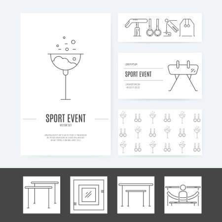 pommel: Business identity vector set with different artistic gymnastics elements including pommel, balance beam, floor. Business card and letterhead. Sports vector.