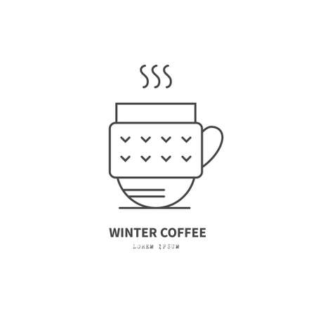 hot cup: Line style logotype template with hot cup. Isolated on background and easy to use. Perfect logo for your business. Clean and minimalistic. Christmas series.