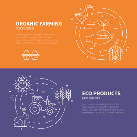 industry design: Collection of farming illustrations with different agricultural symbols. Banner design for farming company or agricultural industry. Illustration