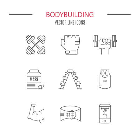 weightloss: Modern line collection of icons with different fitness, bodybuilding and weightloss elements. Vector line icon collection.