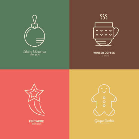minimal: Thin line vector collection of icons including ginger man, Christmas ball, hot drink and rising star. Christmas celebration.