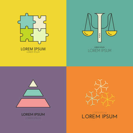 psychology: Clean modern logo collection with psychology symbols. Perfect template for private counseling or mental health professional. Illustration