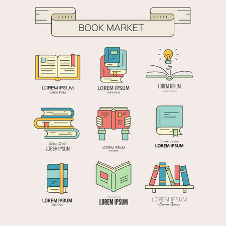 notebook icon: Book market or book festival illustration - collection of different books. Open book,book in hands, book with lightbulb, bookshelf made in vector.