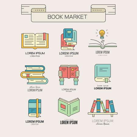 Libro ilustración mercado o libro del festival - colección de diferentes libros. Libro abierto, libro en las manos, un libro con bombilla, estantería hecha en vector. Vectores