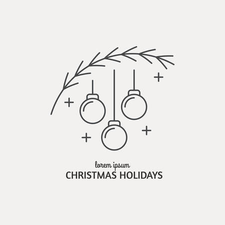 Unique modern logotype with christmas tree and christmas balls made in modern line style vector. Easy to use business template. Christmas series. Stock Illustratie