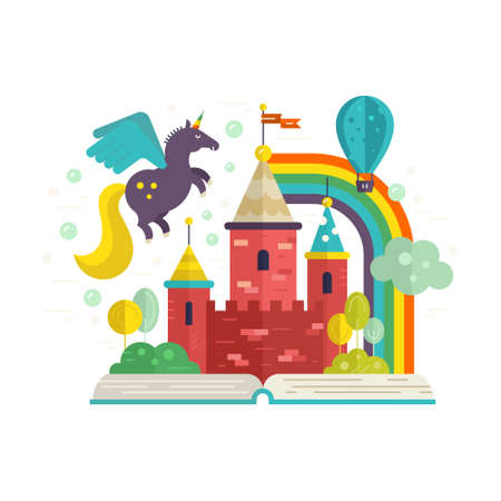 Illustration of a book with fairycastle inside. Flying unicorn, balloon, rainbow and other magic elements. Creative process concept.