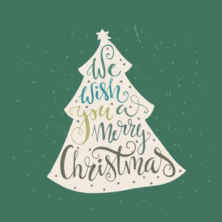 We wish you a merry Christmas - quote in a christmas tree. Handdrawn lettering. Vector art. Xmas design.