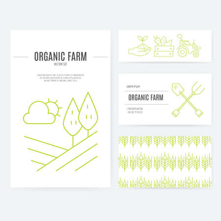 business card template: Farming and agricultural industry business identity elements. Modern vector template for your business.