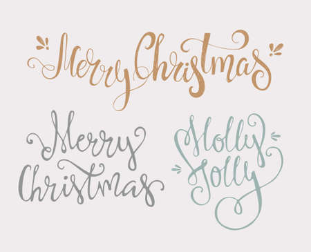 joy: Merry Christmas - tree unique xmas design elements isolated on white backgground. Great design element for congratulation cards, banners and flyers.