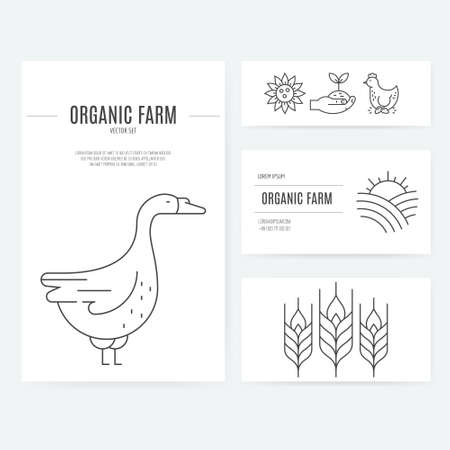 stead: Business identity set with agricultural elements, including letterhead, business cards and flyers. Perfect and clean layout. Easy to edit vector template.