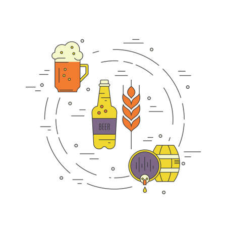 beer bottle: Modern line art design with different beer and brewery symbols. Vector art. Octoberfest series.  Unique illustration for t-shirts, banners, flyers and other types of business design. Illustration