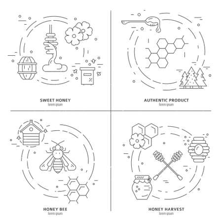 food products: Black and white set of line vector design elements with different honey symbols isolated on white background. Illustration