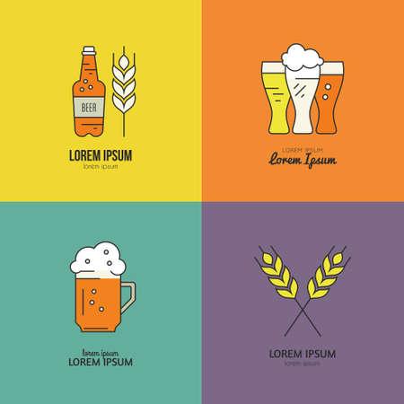 beer bottle: Modern line vector collection of beer logotypes - beer mugs, beer bottles, barrels and brewing process. Modern symbols of brewing process for all kinds of beer-related companies. Octoberfest series. Illustration