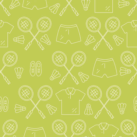 sport club: Seamless pattern with badminton rackets and sportswear. Great background for sport club or active lifestyle banner.