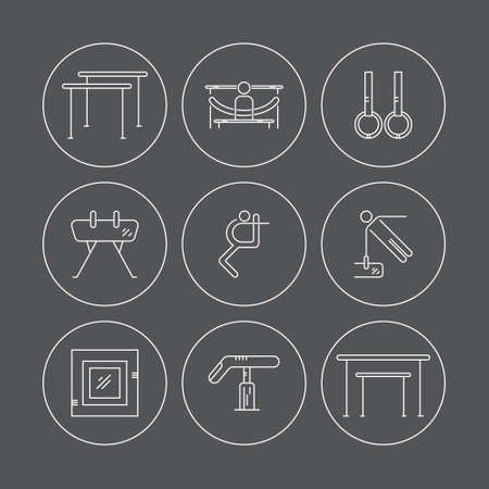 exersice: Thin line vector icon set with Artistic gymnastics equipment and elements. Sports vector logo design template. Modern linear icon set.