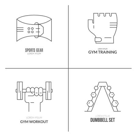 iron cross emblem: Fitness and active lifestyle logo templates. Line icon collection.
