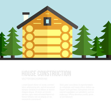 logger: House construction vector template with log house and logger and timber industry tools. Tools, materials and house building process. Place for your text.