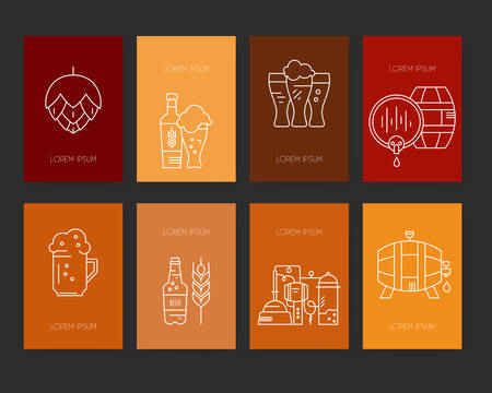 beer bottle: Modern line art design with different beer and brewery symbols. Vector art. Modern design element for flyer template, advertisement or commercial add. Octoberfest series.